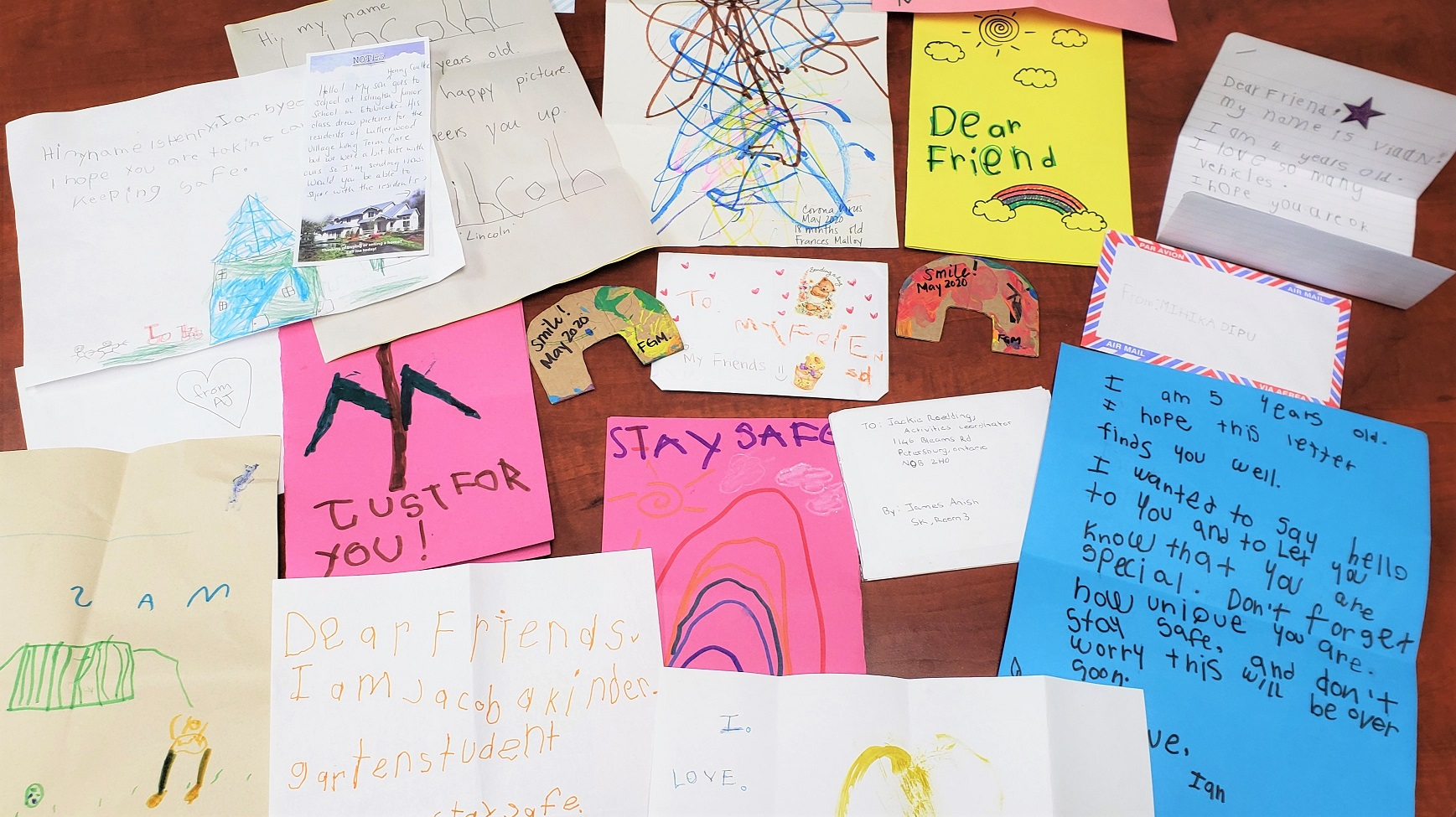 beautiful hand made letters from Toronto School District students for our residents